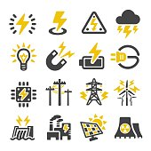 A set of icons related to the fuel and power industry. The icons include an oil well, oil rig, nuclear energy, energy, power, power production, coal, waves, hydroelectricity, biofuel, corn, wheat, power plant, nuclear power, atom, geothermal energy, solar energy, solar panel, biofuel, garbage, nuclear power plant, wind and other forms of energy sources and production.