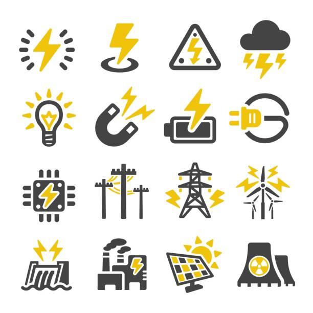 stockillustraties, clipart, cartoons en iconen met elektrische pictogram - onweersbui