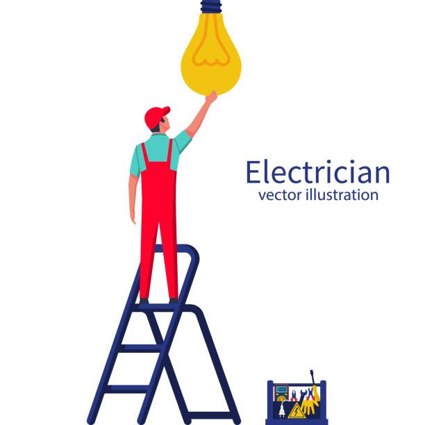 e steht auf der leiter die lampe einschrauben - glühbirne auswechseln stock-grafiken, -clipart, -cartoons und -symbole