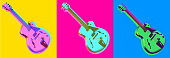 Posterised or Pop Art styled Electric Jazz Guitar