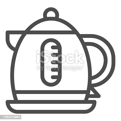Electric kettle line icon, Coffee time concept, teapot sign on white background, kettle icon in outline style for mobile concept and web design. Vector graphics