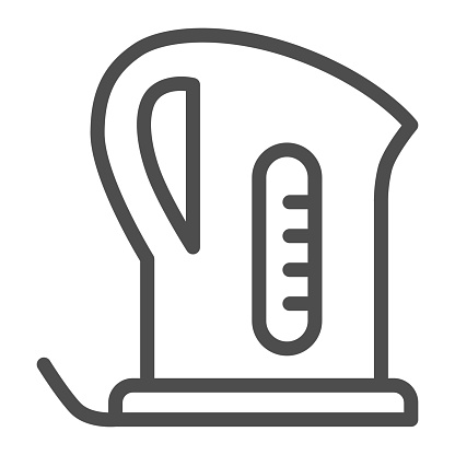 Electric kettle line icon, Kitchen appliances concept, teapot sign on white background, teakettle icon in outline style for mobile concept and web design. Vector graphics.
