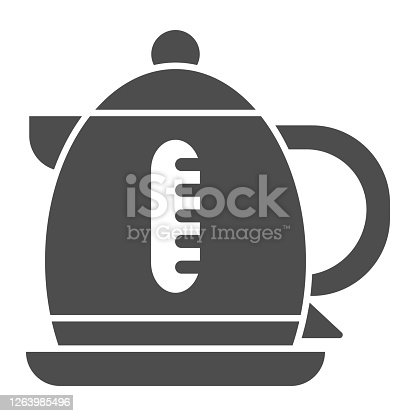 Electric kettle solid icon, Coffee time concept, teapot sign on white background, kettle icon in glyph style for mobile concept and web design. Vector graphics