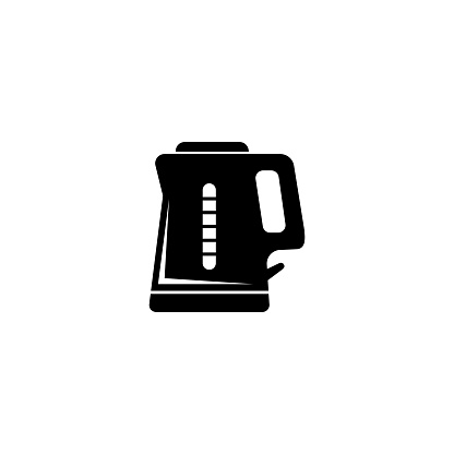 Electric Kettle, Teapot Silhouette. Flat Vector Icon illustration. Simple black symbol on white background. Electric Kettle, Teapot Silhouette sign design template for web and mobile UI element.