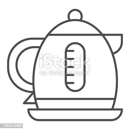 Electric kettle thin line icon, Coffee time concept, teapot sign on white background, kettle icon in outline style for mobile concept and web design. Vector graphics