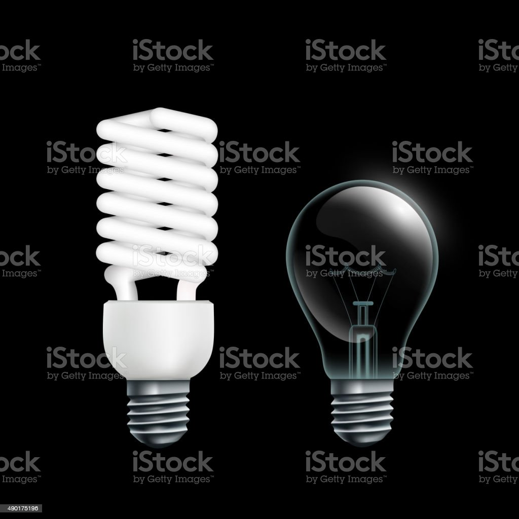 Electric lamps vector art illustration