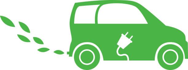 ilustrações de stock, clip art, desenhos animados e ícones de electric leaf car - exhaust white background