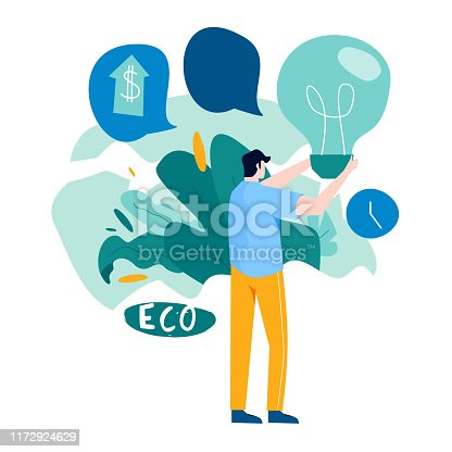 Electric light bulb alternative renewable energy concept flat vector illustration design. Green eco energy solutions, green innovative ideas design for mobile and web graphics