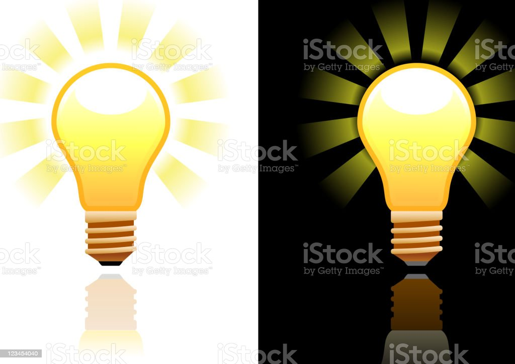 electric light bulb design on black and white Backgrounds royalty-free stock vector art