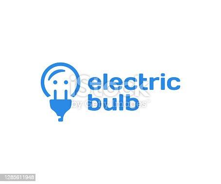 istock Electric light bulb, design. Power socket and plug vector design. Creative idea and innovation illustration 1285611948