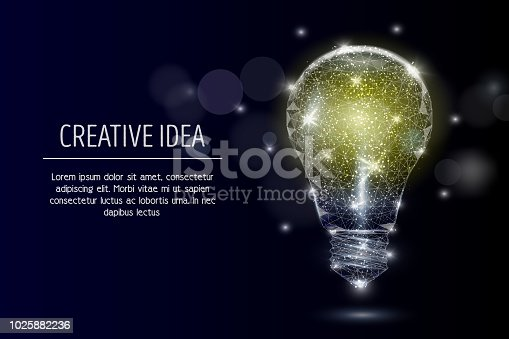 Vector polygonal art style electric light bulb. Low poly wireframe mesh with scattered particles and light effects on dark blue background. Creative idea concept poster banner template with copy space