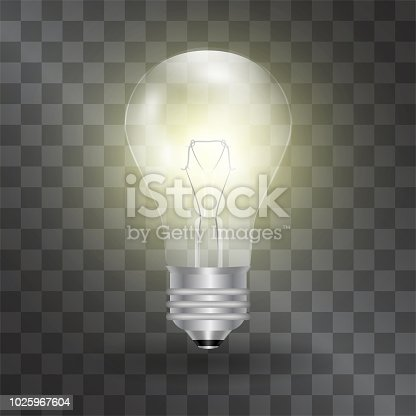 Electric light bulb vector realistic illustration. Warm glowing energy effect. Glass symbol of science, business progress. Shining switched on lamp is a sign of breakout, success or online mark.