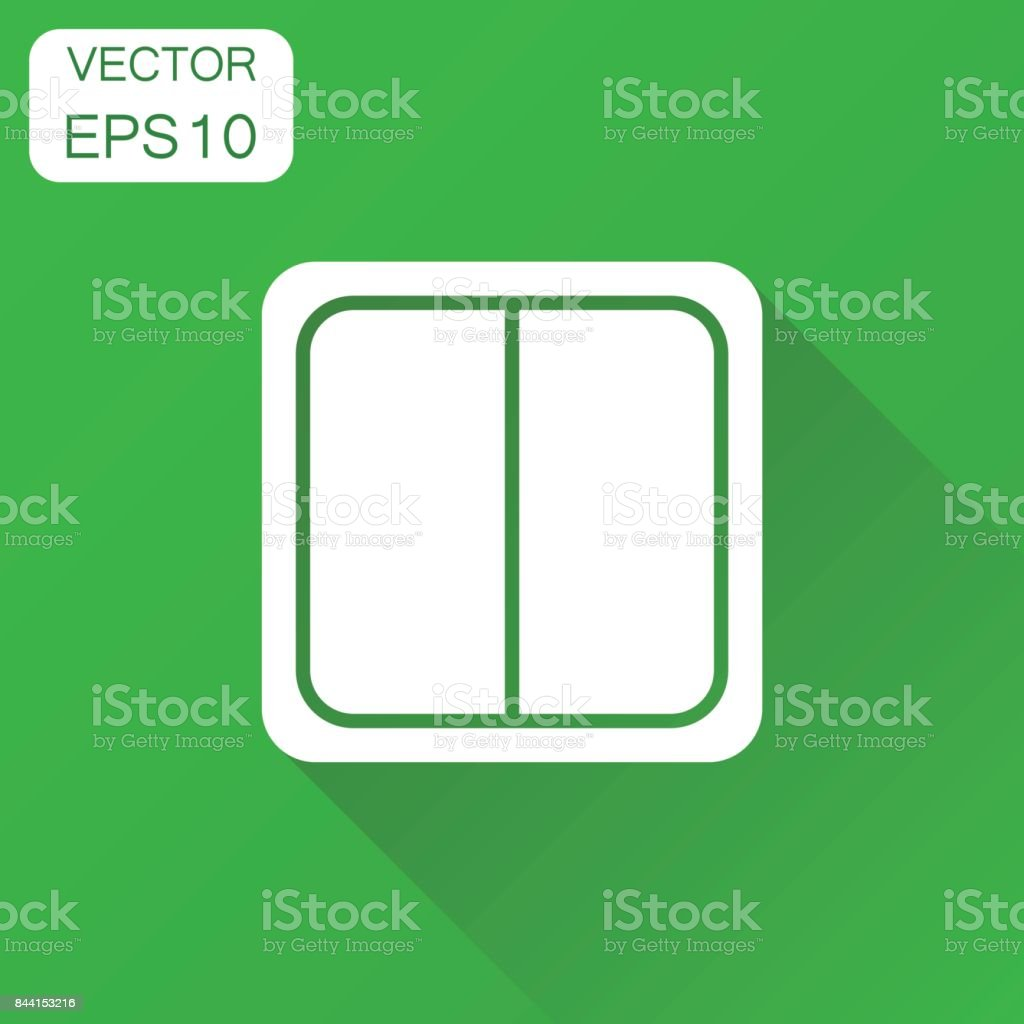Electric light switch icon. Business concept electric switch pictogram. Vector illustration on green background with long shadow. vector art illustration
