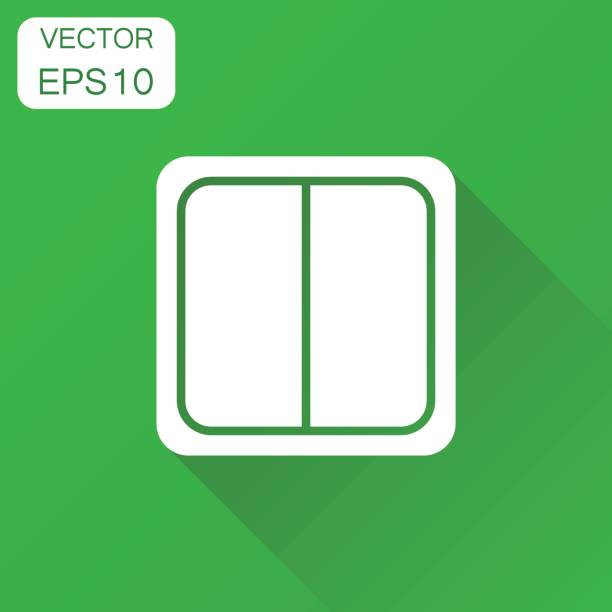 electric light switch icon. business concept electric switch pictogram. vector illustration on green background with long shadow. - electrical wiring home stock illustrations, clip art, cartoons, & icons