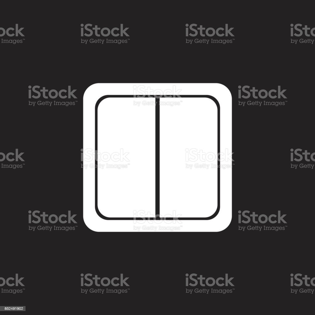Electric Light Switch Icon Flat Vector Illustration On Black Background Royalty