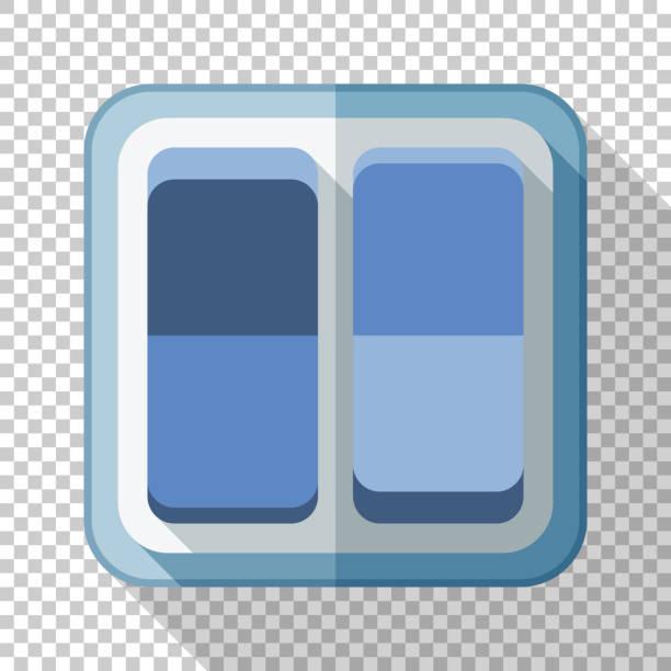Elektrisches Lichtschalter-Symbol im flachen Stil mit langem Schatten auf transparentem Hintergrund – Vektorgrafik