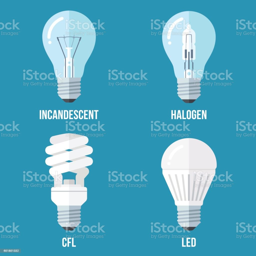 Electric light types vector art illustration