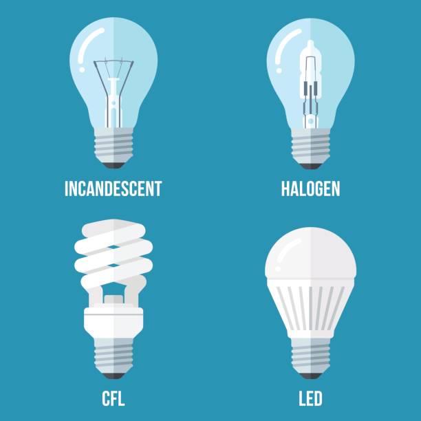 ilustrações, clipart, desenhos animados e ícones de tipos de luz elétrica - led