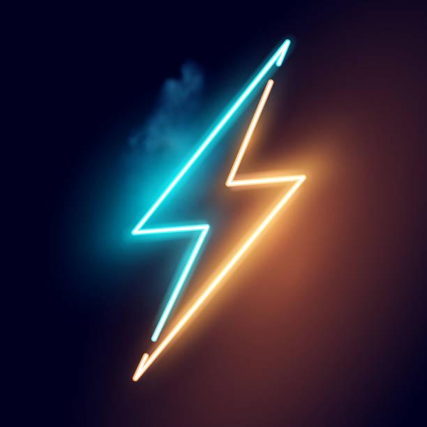 ilustraciones, imágenes clip art, dibujos animados e iconos de stock de vector de signo de neón de rayo eléctrico - equipo de seguridad