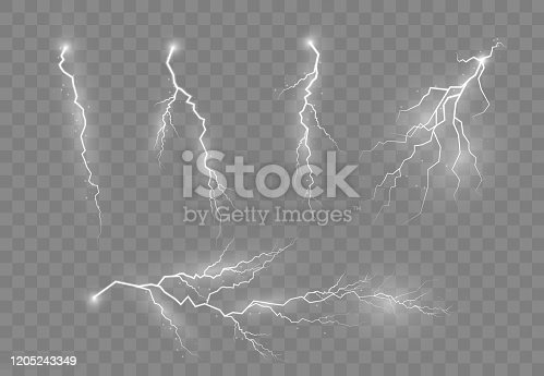 Lightning and thunder, glow and sparkle effect. Electric lighting effects. A symbol of natural strength or magic. Light and shine, abstract, electricity and explosion. Vector illustration, EPS 10.