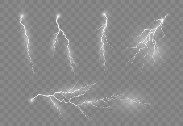 Electric lightning, thunder. Lightning and thunder, glow and sparkle effect. Electric lighting effects. A symbol of natural strength or magic. Light and shine, abstract, electricity and explosion. Vector illustration, EPS 10. thunderstorm stock illustrations