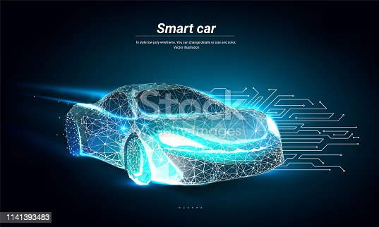 Electric machine. Autonomous car vehicle with circuit board. Smart or intelligent car in the form of a starry sky or space. Abstract illustration isolated on blue background. Low poly wireframe mesh