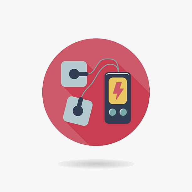 illustrazioni stock, clip art, cartoni animati e icone di tendenza di massaggio elettrico piatto icona con lunga ombra - elettrodo