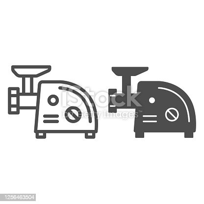 istock Electric meat grinder line and solid icon, Kitchen appliances concept, Meat mincer sign on white background, mincing machine icon in outline style for mobile concept and web design. Vector graphics. 1256463504