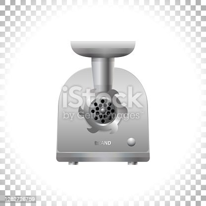 istock Electric meat grinder on transparent background. Front view of silver mincing machine. Kitchen utensil and electrical household appliance. Vector illustration. 1282726759