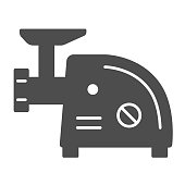 Electric meat grinder solid icon, Kitchen appliances concept, Meat mincer sign on white background, mincing machine icon in glyph style for mobile concept and web design. Vector graphics