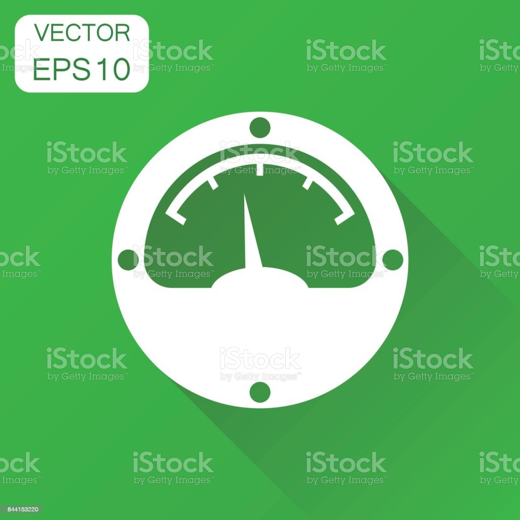 Electric meter icon. Business concept power meter pictogram. Vector illustration on green background with long shadow. vector art illustration