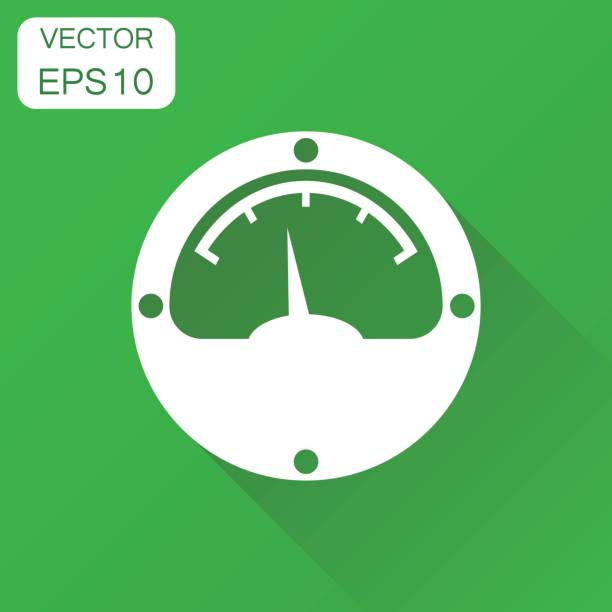electric meter icon. business concept power meter pictogram. vector illustration on green background with long shadow. - electrical wiring home stock illustrations, clip art, cartoons, & icons