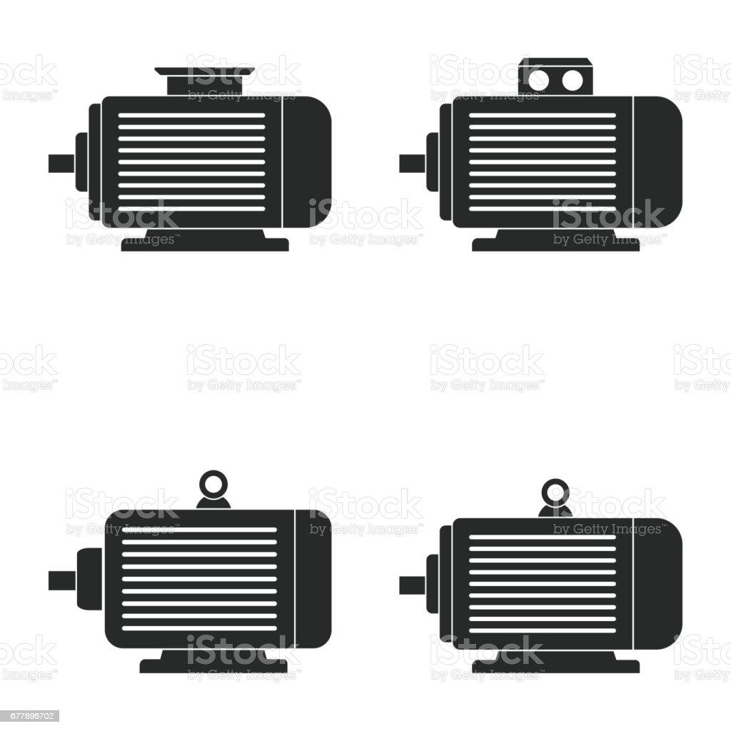 Electric motor icon set. vector art illustration