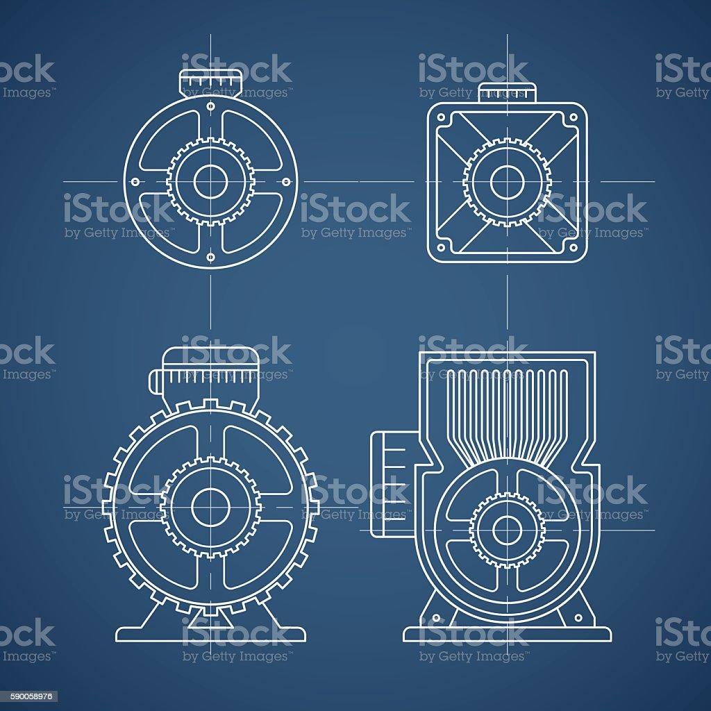 electric motor line icon vector art illustration