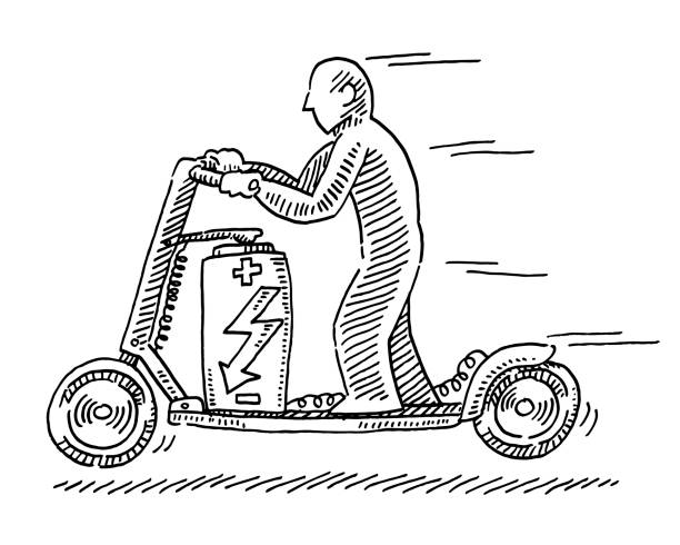 Electric Motor Scooter Drawing Hand-drawn vector drawing of an Electric Motor Scooter. Black-and-White sketch on a transparent background (.eps-file). Included files are EPS (v10) and Hi-Res JPG. cartoon character figure stock illustrations