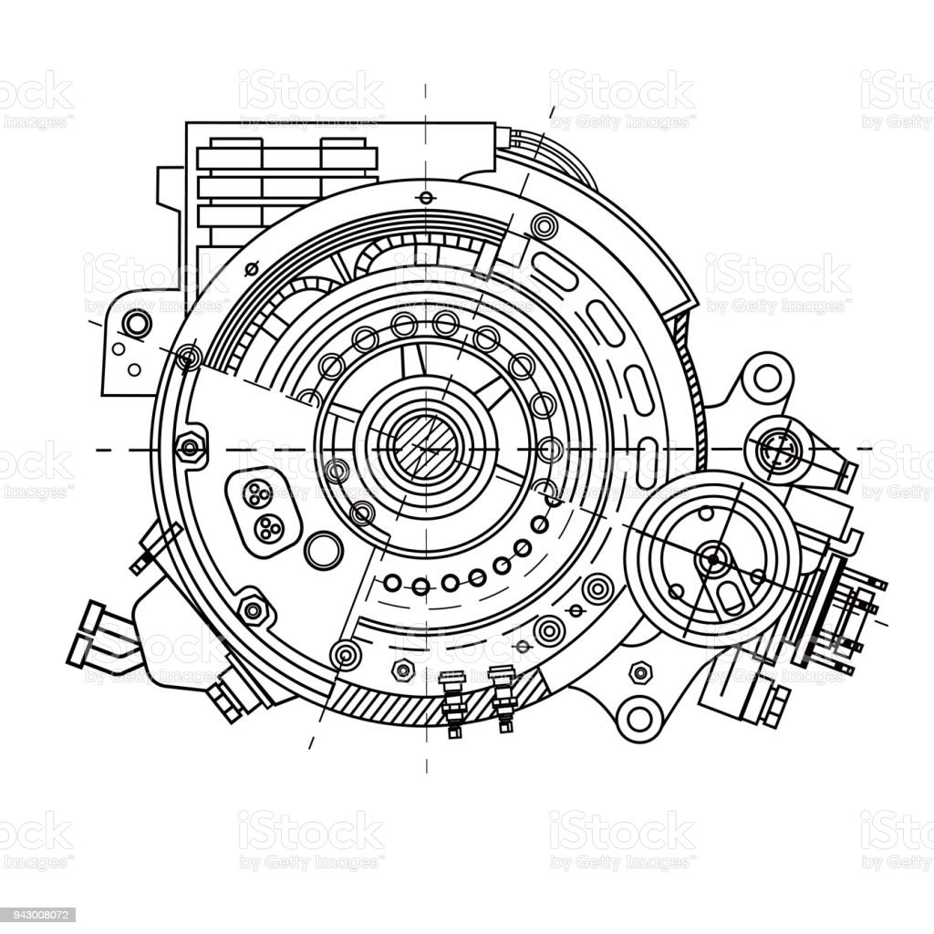 Electric motor section representing the internal structure and mechanisms. It can be used to illustrate the ideas related to science, engineering design and high-tech vector art illustration
