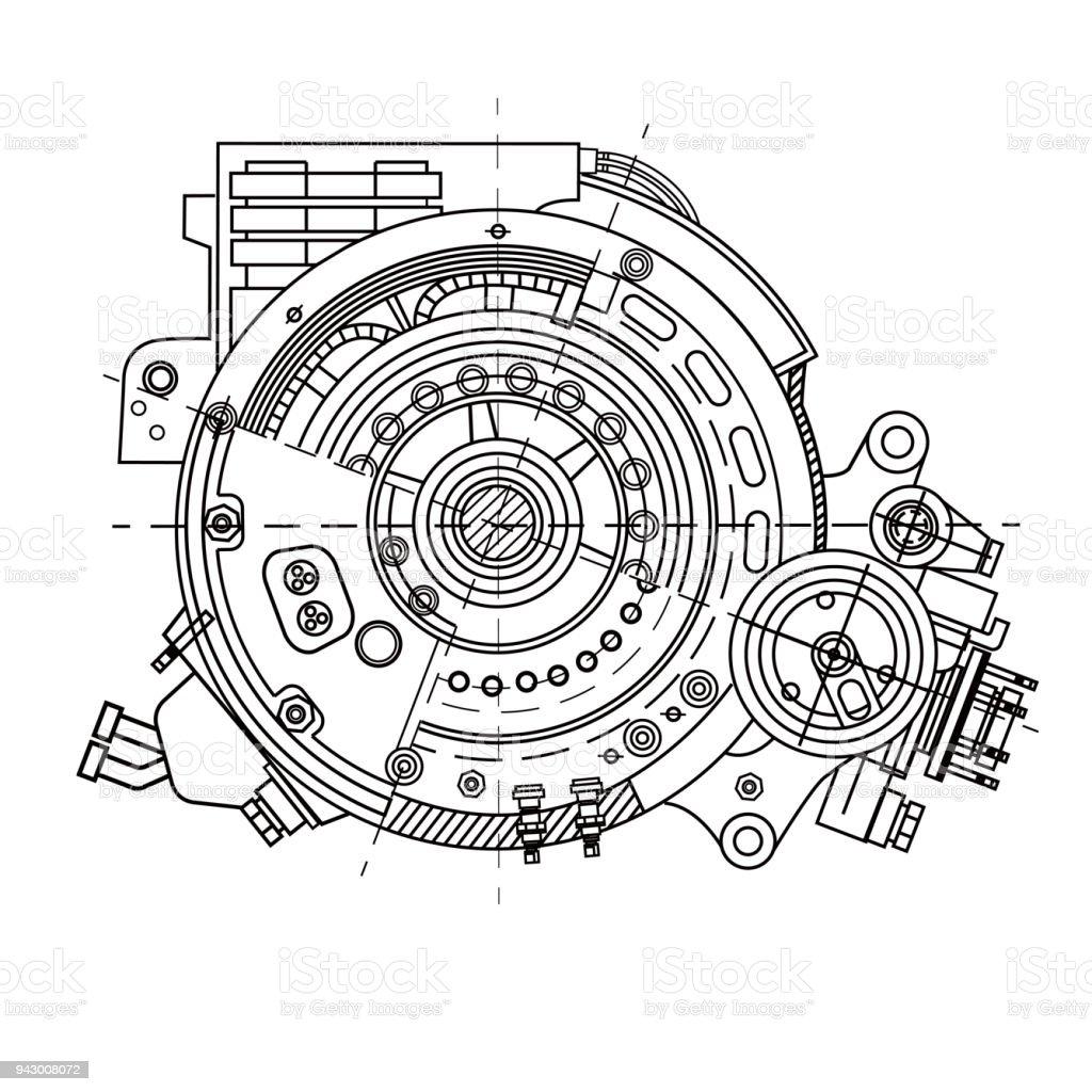Moteur électrique section représentant la structure interne et les mécanismes. Il peut être utilisé pour illustrer les idées liées à la science, ingénierie, design et haute technologie - Illustration vectorielle