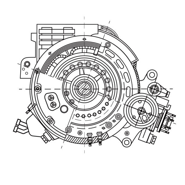 Electric motor section representing the internal structure and mechanisms. It can be used to illustrate the ideas related to science, engineering design and high-tech Electric motor section representing the internal structure and mechanisms. It can be used to illustrate the ideas related to science, engineering design and high-tech. Blueprint machine part stock illustrations