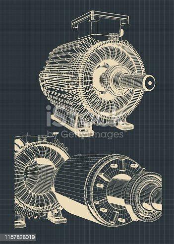 Stylized vector illustration of a disassembled electric motor drawings