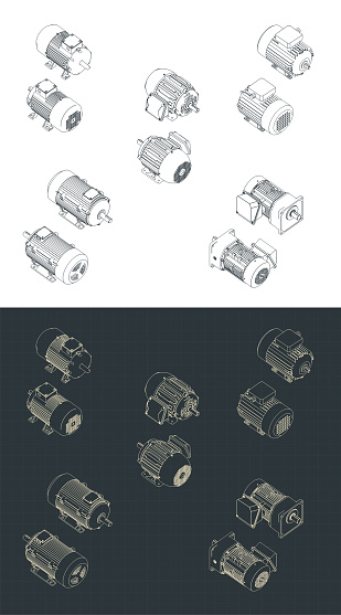 Electric motors isometric drawings