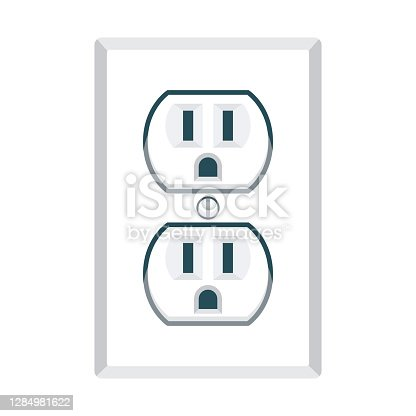 istock Electric Outlet Icon on Transparent Background 1284981622