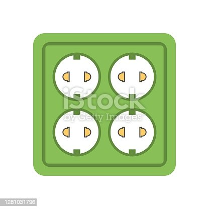 Electric outlet icon on white background - vector illustration