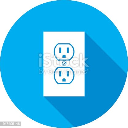 Vector illustration of a round blue electric outlet.