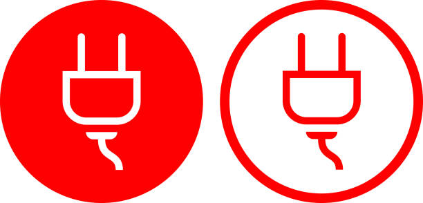 Electric Outlet power Plug Icon vector art illustration