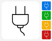 Electric Outlet power Plug Icon. The icon is black and is placed on a square vector button. The button is flat white color and the background is light. The composition is simple and elegant. The vector icon is the most prominent part if this illustration. There are four alternate button variations on the right side of the image. The alternate colors are red, yellow, green and blue.