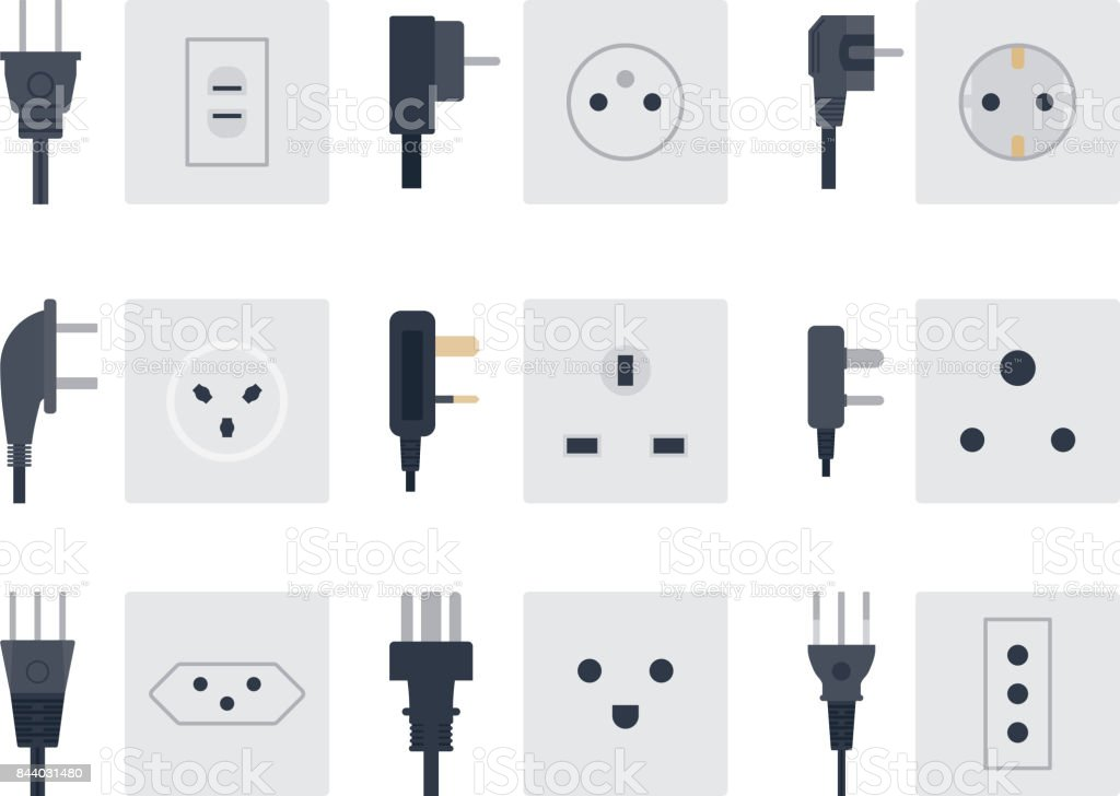 Electric Outlet Vector Illustration Energy Socket Electrical Outlets Plugs European Appliance Interior Icon Royalty Free