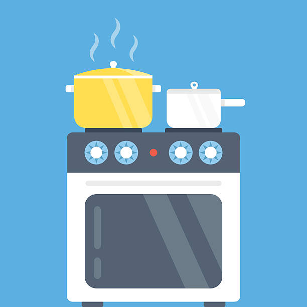 Electric oven and saucepans. Modern flat design vector illustration Electric oven and saucepans. Kitchen appliances, kitchen interior, utensils concepts. Front view. Modern flat design vector illustration isolated on blue background oven stock illustrations