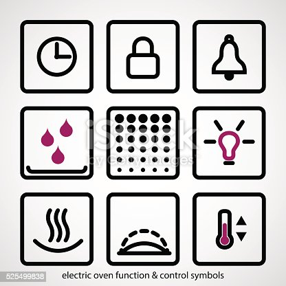 Electric Oven Function Control Symbols Stock Vector Art More