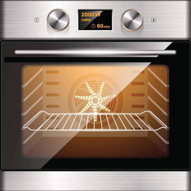 Electric oven in stainless steel and glass. Electronic control. Kitchen equipment. Electric oven in stainless steel and glass. Electronic control. oven stock illustrations