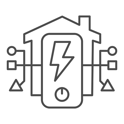 Electric Panel In House Thin Line Icon Smart Home Symbol